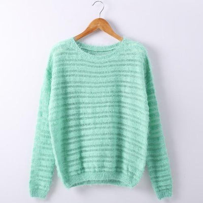 Loose Knitted Sweater - Green / One size