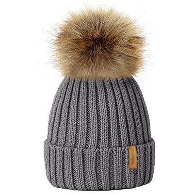 Winter Fur Pom-Pom Hat - Grey