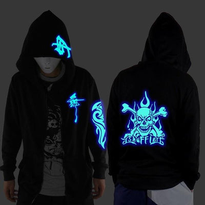 Blue Rave Ghost Hoodie - Human skeleton / XXS