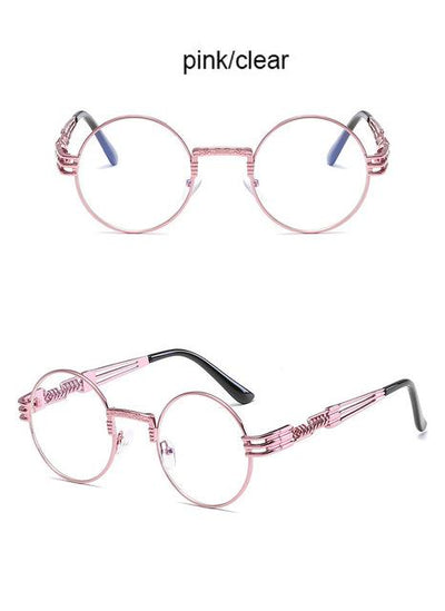 Steampunk Round Sunglasses - Pink - Clear