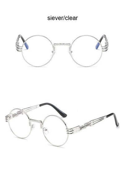 Steampunk Round Sunglasses - Silver - Clear