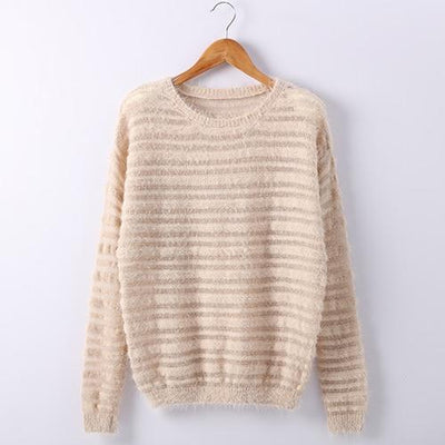 Loose Knitted Sweater - Khaki / One size