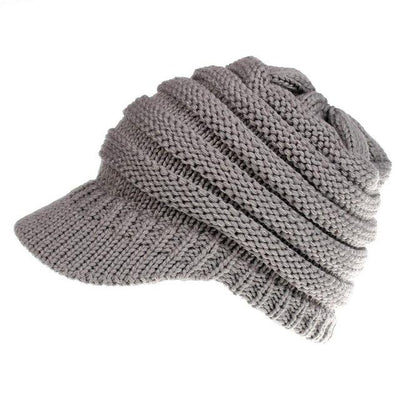 Ponytail Warm Knitted Beanie With Visor - Light Gray