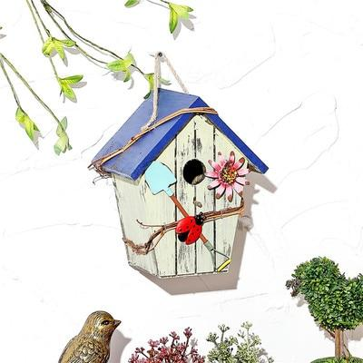 Wooden Bird House - Light Grey / 15X12X20CM