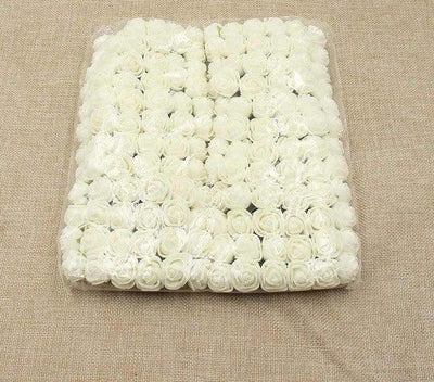 Artificial Small Rose Flower Head (144Pcs) - Milk white