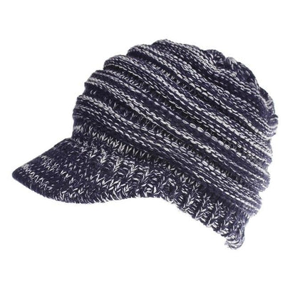 Ponytail Warm Knitted Beanie With Visor - Navy Blue/White