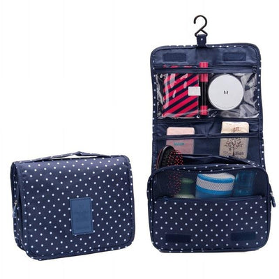 Hanging Washing Bags - Navy Dot