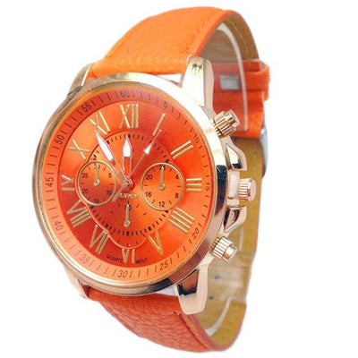 Roman Numerical Dial Leather Watch - Orange