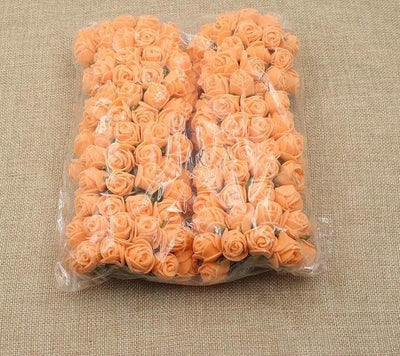 Artificial Small Rose Flower Head (144Pcs) - Orange