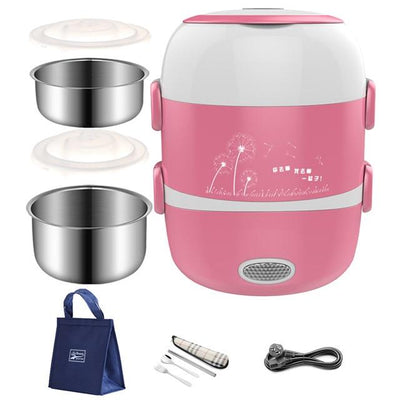 Portable Electric Heating Lunch Box - Pink / 2 Line