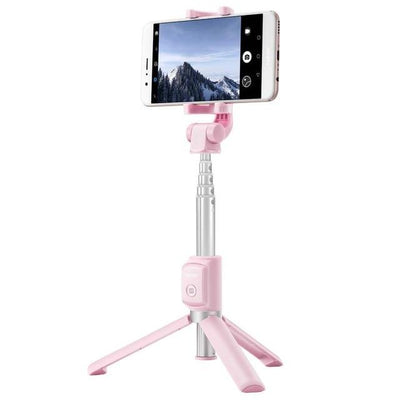 2 in 1 Selfie Stick With Tripod - Pink