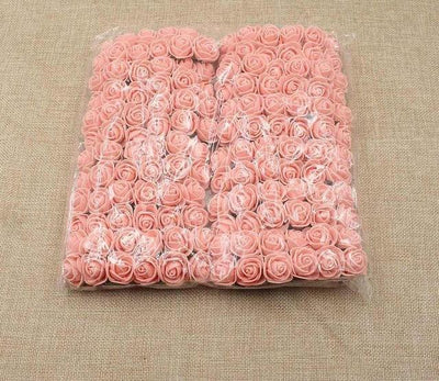 Artificial Small Rose Flower Head (144Pcs) - Pink