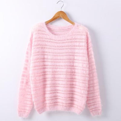 Loose Knitted Sweater - Pink / One size