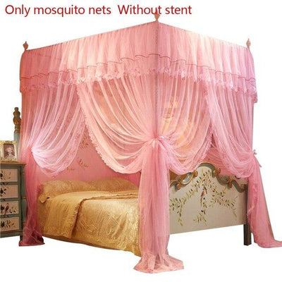 Queen Canopy Bed Curtains - Pink