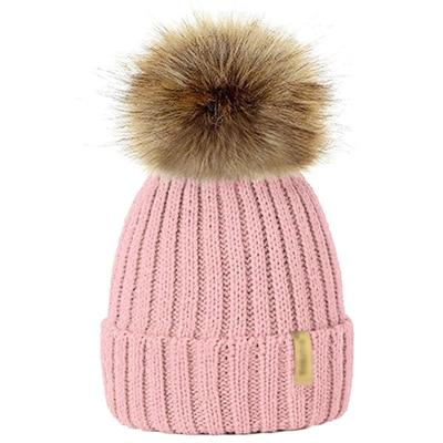 Winter Fur Pom-Pom Hat - Pink