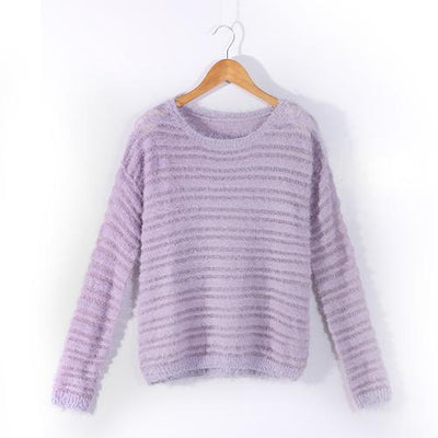 Loose Knitted Sweater - Purple / One size