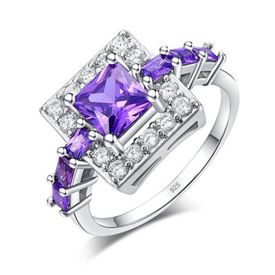 Purple Zirconia Wedding Ring - 5 / Purple / Silver