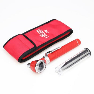 Compact Pocket Size Fiber Optic Otoscope - Red