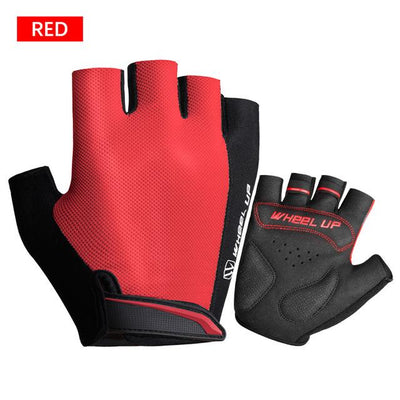 Shockproof Half-Finger Cycling Gloves - Red / S