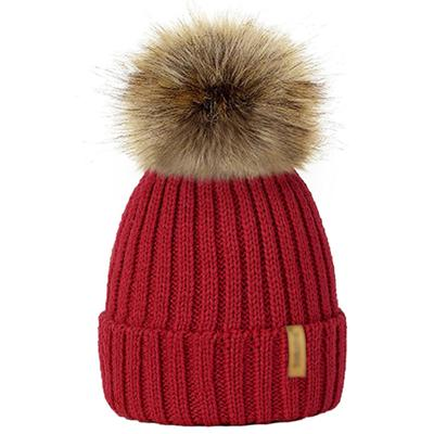 Winter Fur Pom-Pom Hat - Red