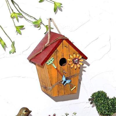 Wooden Bird House - Gold / 15X12X20CM