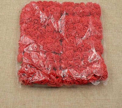 Artificial Small Rose Flower Head (144Pcs) - Red