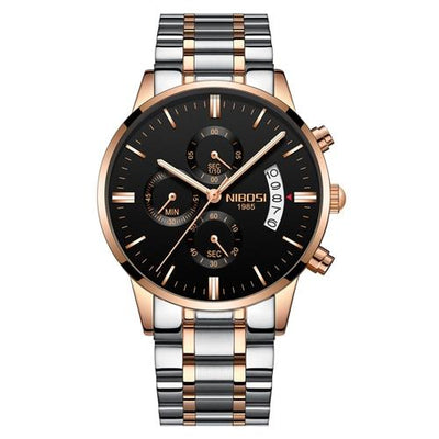 Multi-Feature Quartz Wrist Watch - RoseGold Black Steel