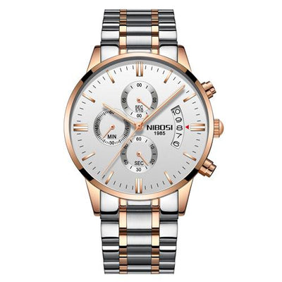 Multi-Feature Quartz Wrist Watch - RoseGold White Steel