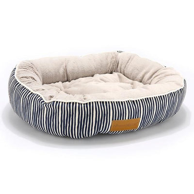 Orthopedic Dog Bed On Sale - Round Blue Strip Bed / Medium