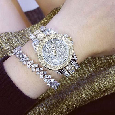 Luxury Diamond Watch - SILVER GOLD