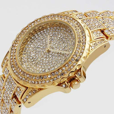 Luxury Diamond Watch - STEEL GOLD