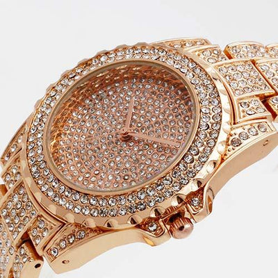 Luxury Diamond Watch - STEEL ROSE