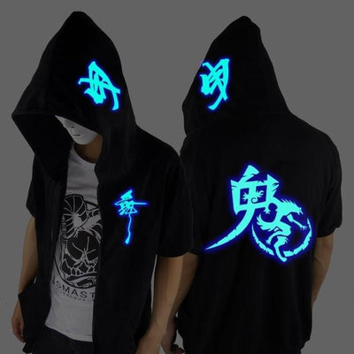 Blue Rave Ghost Hoodie - Short sleeve Ghost W / XXS