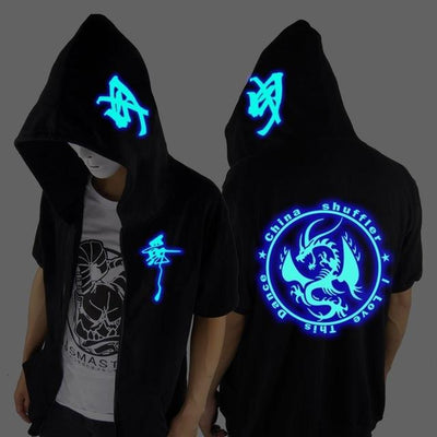 Blue Rave Ghost Hoodie - Short sleeve circle / XXS