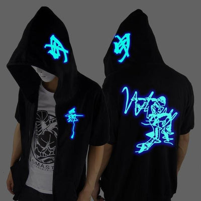 Blue Rave Ghost Hoodie - Short sleeve dancer / XXS