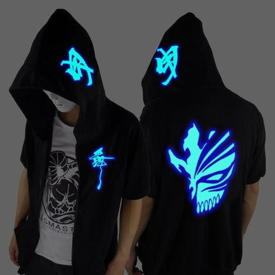 Blue Rave Ghost Hoodie - Short sleeve death / XXS