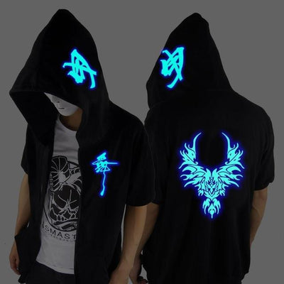Blue Rave Ghost Hoodie - Short sleeved Dragon / XXS