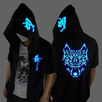 Blue Rave Ghost Hoodie - Short sleeved Wolf / XXS