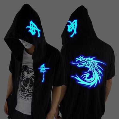 Blue Rave Ghost Hoodie - Short sleeved faucet / XXS