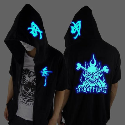 Blue Rave Ghost Hoodie - Short sleeved skelet / XXS