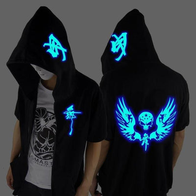Blue Rave Ghost Hoodie - Short wing skeleton / XXS