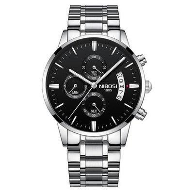 Multi-Feature Quartz Wrist Watch - Silver Black Steel