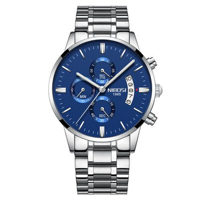 Multi-Feature Quartz Wrist Watch - Silver Blue Steel