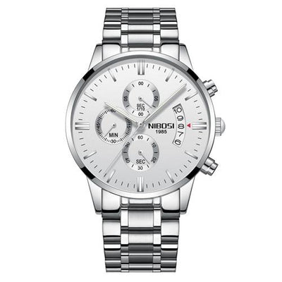 Multi-Feature Quartz Wrist Watch - Silver White Steel