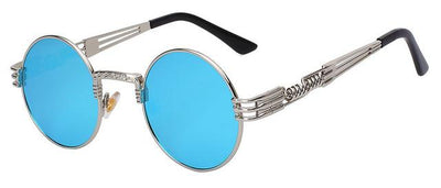 Unisex Steampunk Round Sunglass - Silver with blue mir