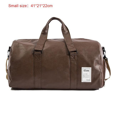 Hand Leather Duffle Bag - Small Brown