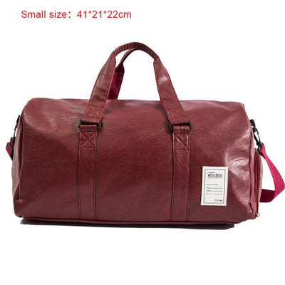 Hand Leather Duffle Bag - Small Red