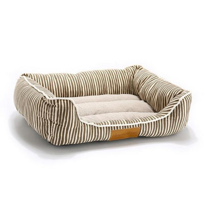 Orthopedic Dog Bed On Sale - Square Brown Strip / Medium