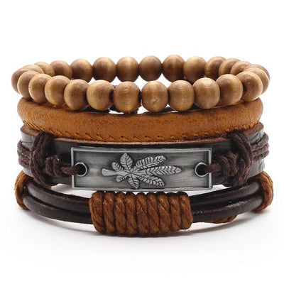 Unisex Leather Charm Bracelet Set (4Pcs) - Style 12