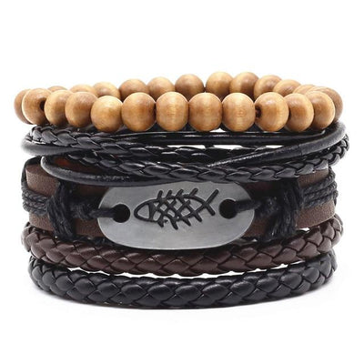 Unisex Leather Charm Bracelet Set (4Pcs) - Style 1